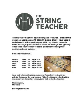 FRIDAY FREEBIE - ORCHESTRA REHEARSAL SEATING TAGS