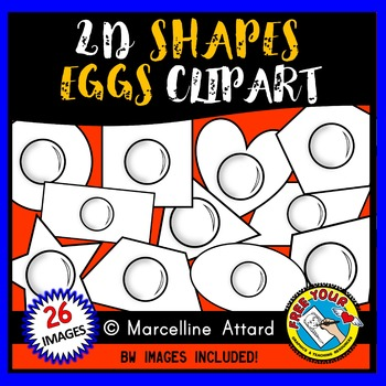 FRIED EGG SHAPES CLIPART: 2D SHAPE EGGS