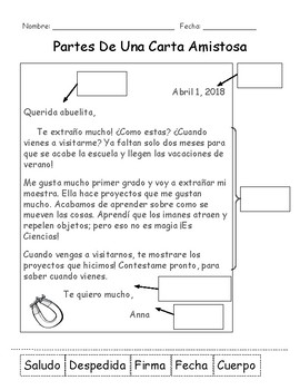 FRIENDLY LETTER - Poster, Chart, Activities & Assessment - Spanish