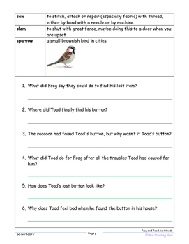 FROG AND TOAD ARE FRIENDS NOVEL STUDY ASSESSMENT