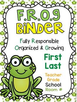 FROG Binder Covers **EDITABLE**