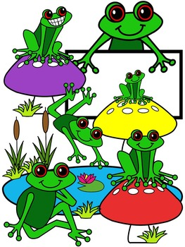 FROG CLIPART * COLOR AND BLACK AND WHITE