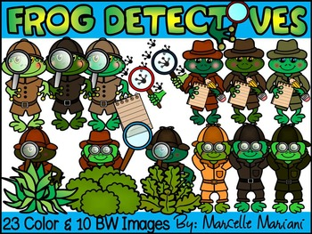 FROG DETECTIVES CLIP ART- FROGS  CLIP ART (33 IMAGES) COMM