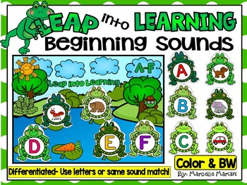 FROGS PHONEMIC AWARENESS LITERACY CENTRE-BEGINNING SOUNDS