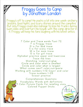 FROGGY GOES TO CAMP BOOK UNIT