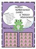 FROGGY NUMBER BINGO GAMES AND FROGGY NOUN BINGO