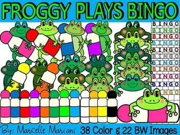 FROGGY PLAYS BINGO- FROGS WITH DABBERS & BINGO CARDS CLIP