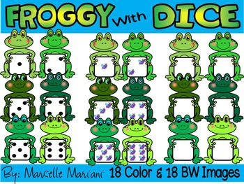 FROGGY WITH DICE- FROGS WITH DICE CLIP ART- FROGS CLIP ART