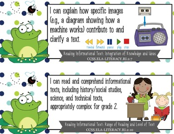 """FROGS - 2nd Grade Common Core Standards """"I CAN"""" format / posters"""