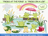 """FROGS AT THE POND"" & ""FROGS ON A LOG"" - INTERACTIVE PIECES/ File Folder Game"