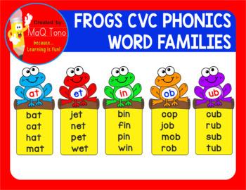 FROGS CVC PHONICS WORD FAMILIES