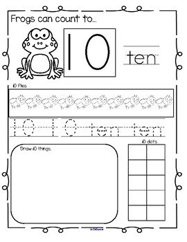 FROGS Number Practice Printables - Recognition, Tracing, Counting 1-20