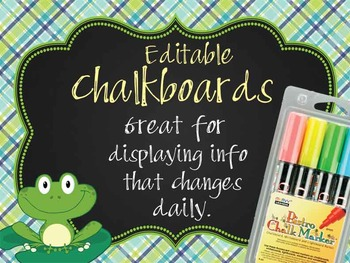 FROGS - Classroom Decor:editable chalkboard  POSTERS / Bis