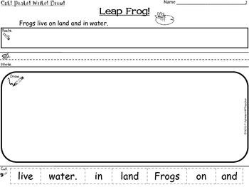 FROGS ~ Cut, Paste, Write, Draw! Scrambled Sentences