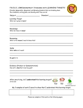 F.R.O.G.S. Learning Target Student Data Binder Reflection Sheet