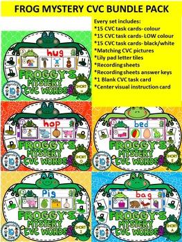 KINDERGARTEN CVC ACTIVITIES - FROGS MYSTERY CVC TASK CARDS- BUNDLE PACK