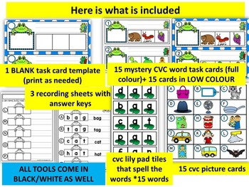 FROGS- SHORT A-MYSTERY CVC  LITERACY CENTRE CVC TASK CARDS