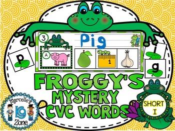 FROGS- SHORT I-MYSTERY CVC  LITERACY CENTRE CVC TASK CARDS