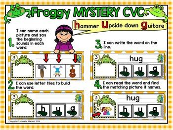 FROGS- SHORT U- MYSTERY CVC  LITERACY CENTRE CVC TASK CARDS