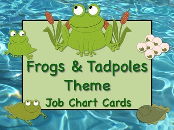 FROGS & TADPOLES Theme Job Chart Cards / Signs - Great for