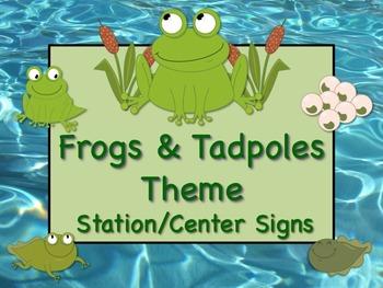 FROGS & TADPOLES Themed Station/Center Signs Great Classro