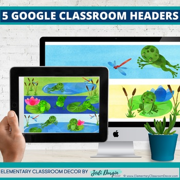 FROGS THEME Classroom Decor - 2 EDITABLE Clutter-Free Classroom Decor BUNDLE
