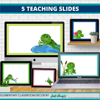 FROGS THEME Classroom Decor - 2 EDITABLE Clutter-Free Classroom Decor BUNDLE