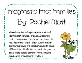 FROGtastic Fact Families