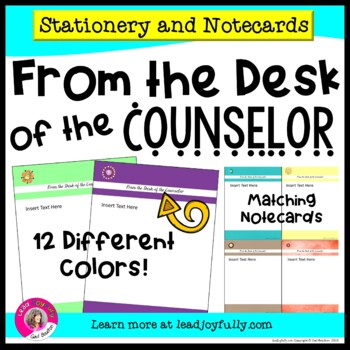 FROM THE DESK OF THE COUNSELOR: Stationery with Matching Note Cards