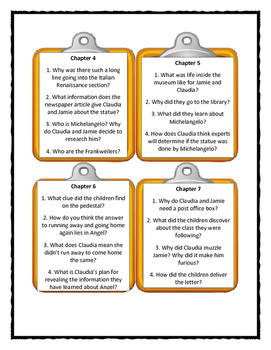 FROM THE MIXED-UP FILES OF MRS. BASIL E. FRANKWEILER - Discussion Cards