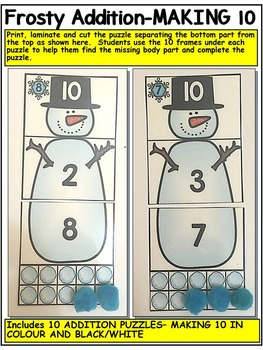 FROSTY ADDITION- WINTER MATH CENTRE ACTIVITIES- ADDITION TO 20