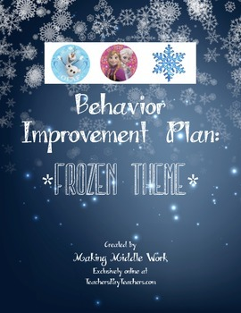 FROZEN Inspired Behavior Plan- Contains 3 Versions!