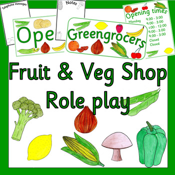FRUIT AND VEGETABLE role play shop pack- dramatic play