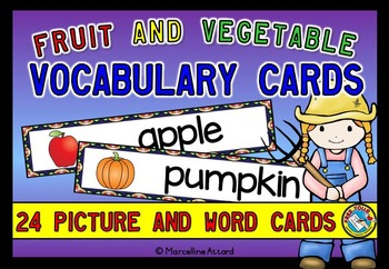 FRUIT AND VEGETABLES VOCABULARY CARDS WITH WORDS AND PICTURES: WORD WALL