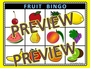 FRUIT VOCABULARY ACTIVITIES: FRUIT BINGO GAME FOR WHOLE CLASS: FRUIT GAMES