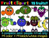 FRUIT CLIP ART- FRUIT CARTOON and REGULAR FRUIT CLIP ART (4 SETS)
