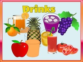 FRUIT DRINKS FLASHCARDS (Restaurant Menu)