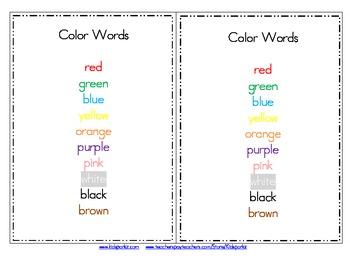 FRUIT Color Words Emergent Reader