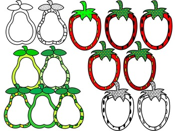 FRUIT FRAMES CLIP ART- 7 FRUIT FRAMES- 92 IMAGES- COMMERCIAL USE