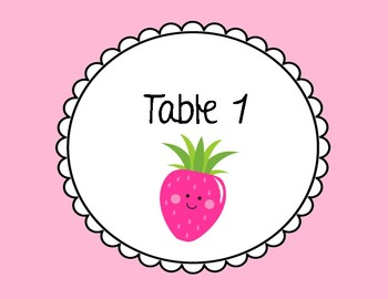 FRUIT Themed Table Numbers