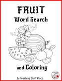 FRUIT Vocabulary ... Word Search & Coloring – Grades 1-2-3