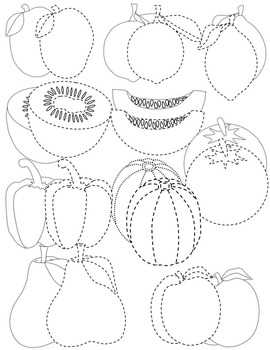 FRUITS AND VEGETABLES TRACING CLIP ART