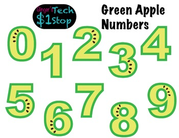 FRUITY GREEN APPLE * Bulletin Board Letters * Numbers * 0123456789