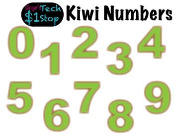 FRUITY KIWI * Bulletin Board Letters * Numbers * 0123456789