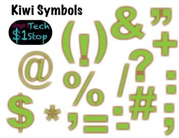 FRUITY KIWI * Bulletin Board Letters * Symbols * Punctuation