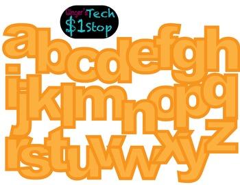 FRUITY ORANGE * Bulletin Board Letters * Lower Case * Alphabet