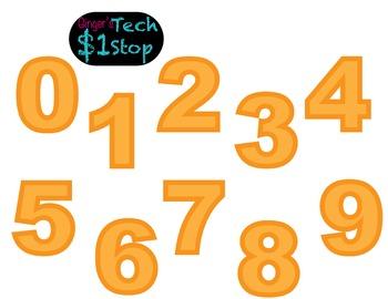 FRUITY ORANGE * Bulletin Board Letters * Numbers * 0123456789