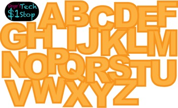 FRUITY ORANGE * Bulletin Board Letters * Upper Case * Alphabet * Fruity