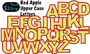 FRUITY RED APPLE * Bulletin Board Letters * Upper Case * Alphabet * Fruity