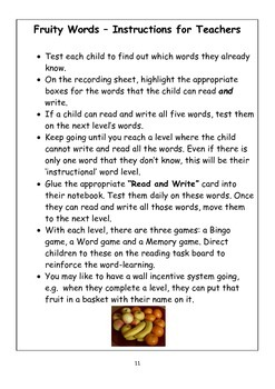 FRUITY WORDS WORD RECOGNITION PROGRAMME